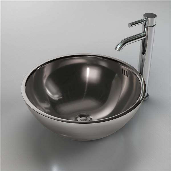 Cantrio Koncepts Circular Vessel Bathroom Sink with Overflow