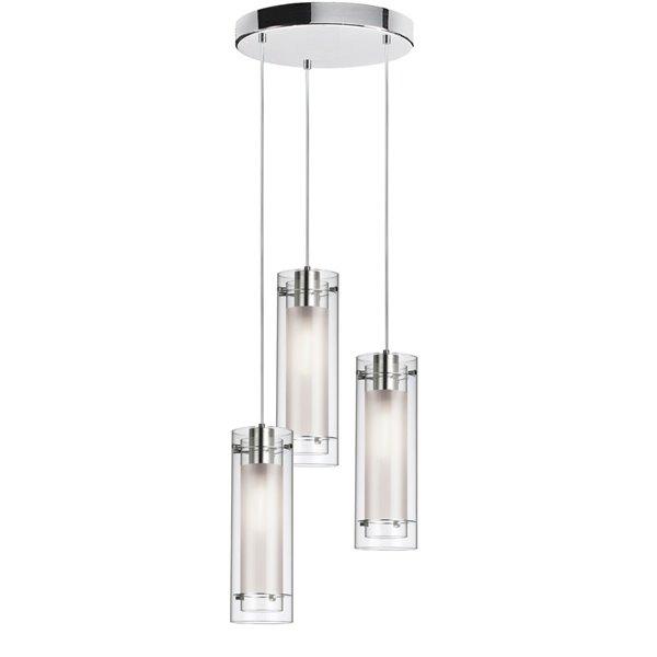 Dainolite Signature Pendant Light - 3-Light - 5-in x 15-in - Glass/Polished Chrome