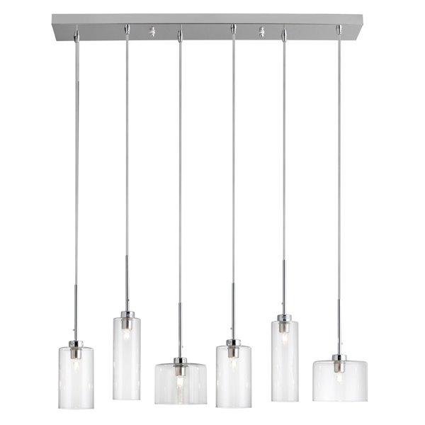 Dainolite Industrial Chic Pendant Light - 6-Light - 7-in x 7.5-in - Polished Chrome
