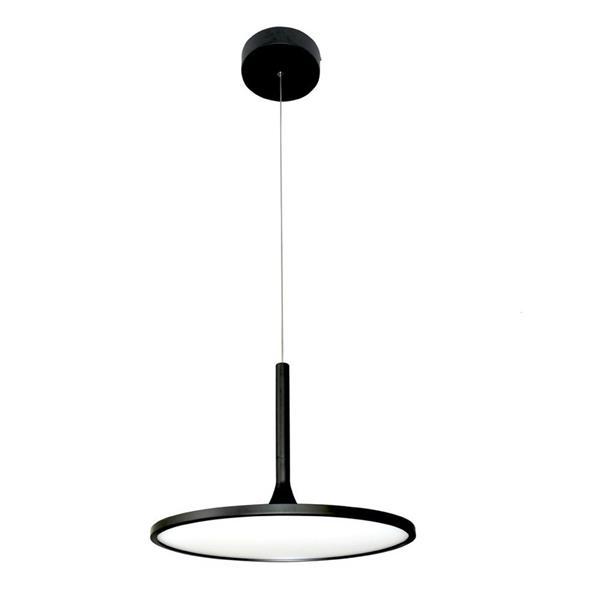 Vonn Lighting Salm Black Modern Round Integrated LED Pendant - 17-in