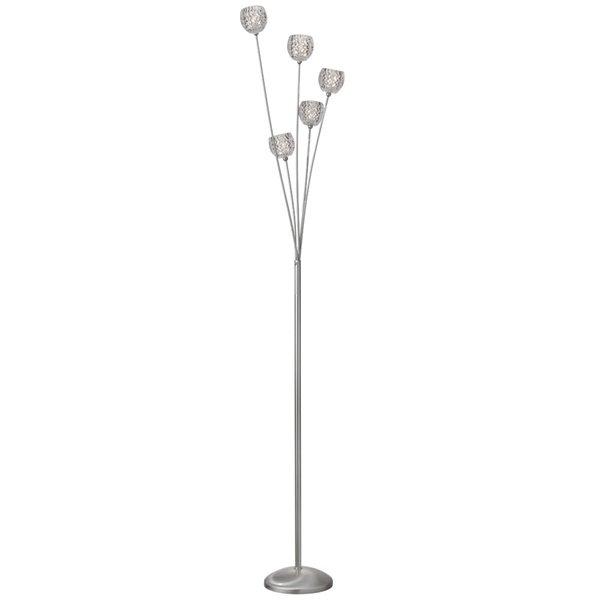 Dainolite Signature Crystal Floor Lamp - 5-Light - Satin Chrome