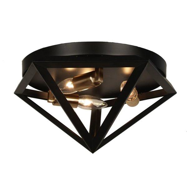 Dainolite Archello Flush Mount Light - 3-Light - 12-in - Matte Black/Antique Brass