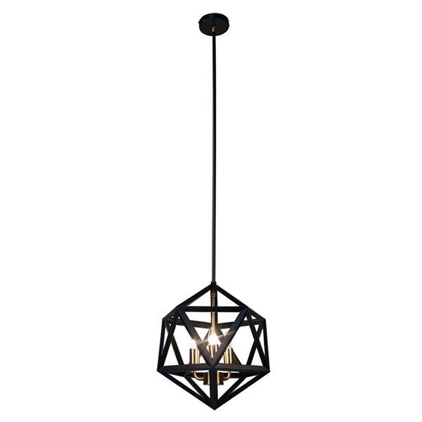 Dainolite Archello Chandelier - 3-Light - 14-in x 13-in - Matte Black