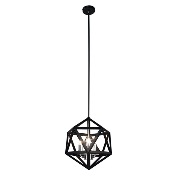 Dainolite Archello Chandelier - 3-Light - 14-in - Matte Black
