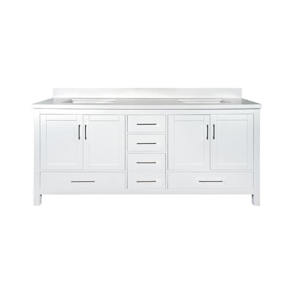 GEF Willow Vanity with White Quartz Top, 72-in White