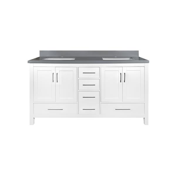 GEF Willow Vanity with Grey Quartz Top, 60-in White
