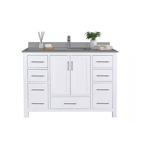 GEF Willow Vanity with Grey Quartz Top, 48-in White