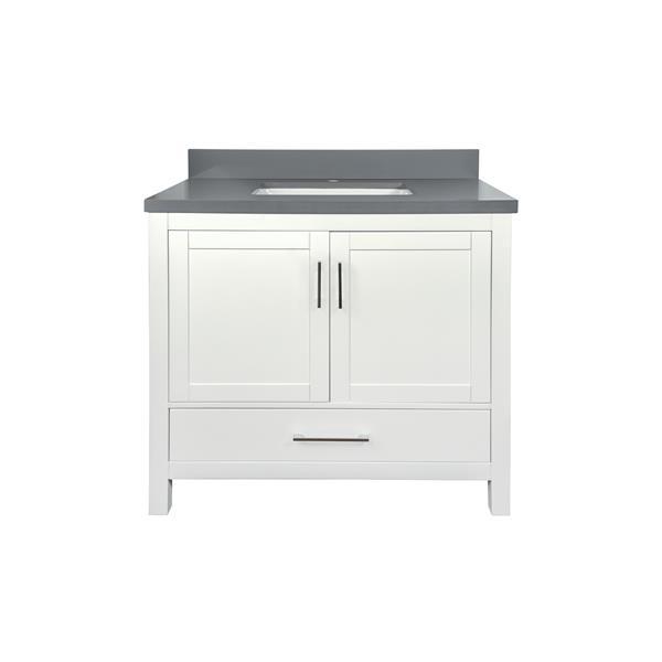 GEF Willow Vanity with Grey Quartz Top, 36-in White