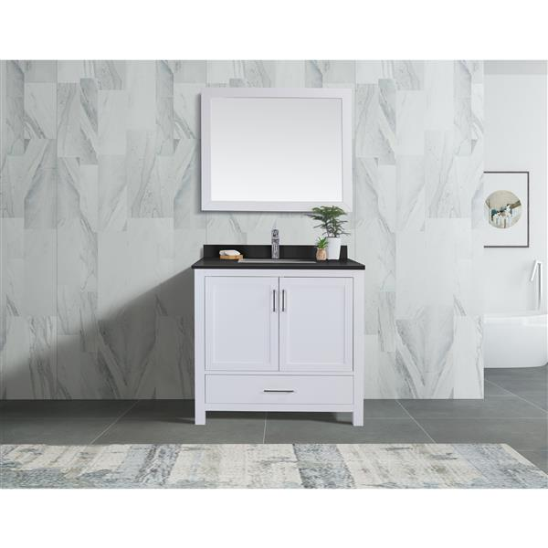 GEF Willow Vanity with Black Granite Top, 36-in White