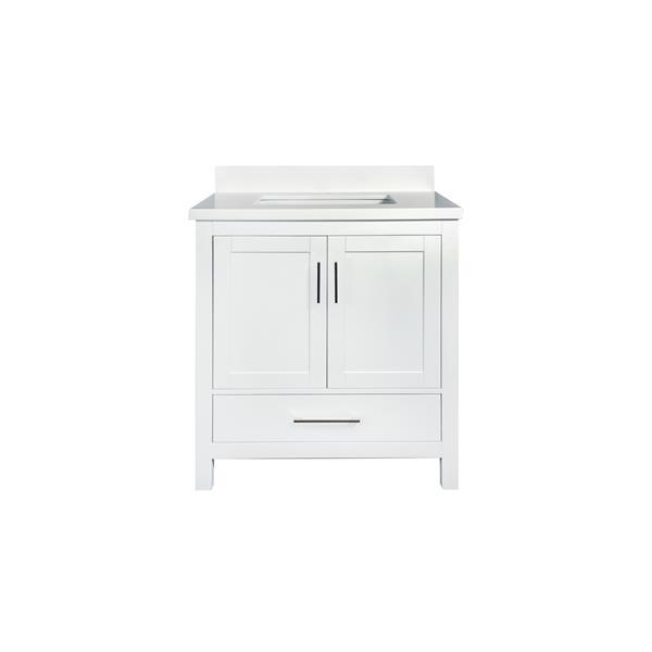 GEF Willow Vanity with White Quartz Top, 30-in White