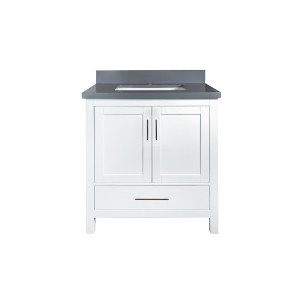 GEF Willow Vanity with Grey Quartz Top, 30-in White