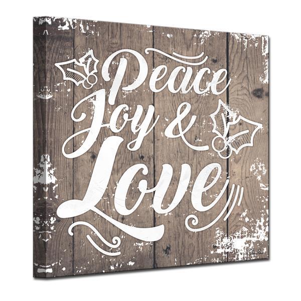 Ready2HangArt Christmas Peace Joy Love Canvas Wall Art - 30-in - Brown