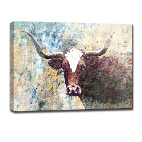Ready2HangArt Long Horns Canvas Wall Décor - 40-in - Brown