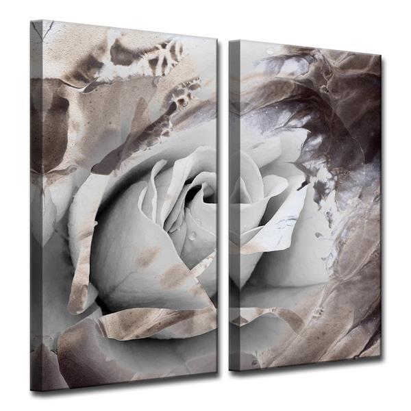 Ready2HangArt Painted Petals Wall Décor Set - 40-in - Gray - 2 Pcs