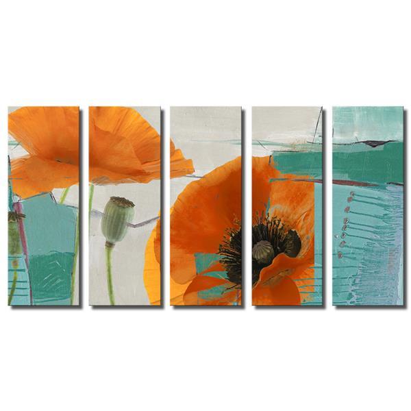 Ready2HangArt Painted Petals Canvas Wall Décor Set - 60-in - Orange - 5 Pcs