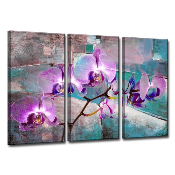 Ready2HangArt Painted Petals XIX Wall Décor Set - 60-in - Purple - 3 Pcs