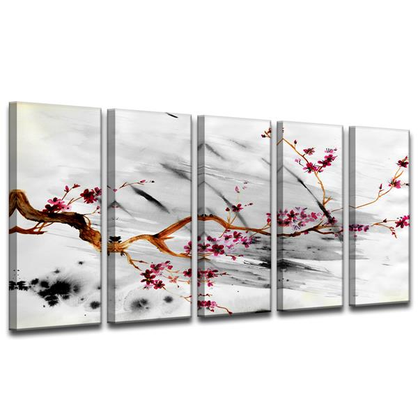 Ready2HangArt Painted Petals XII Wall Décor Set - 60-in - Gray - 5 Pcs