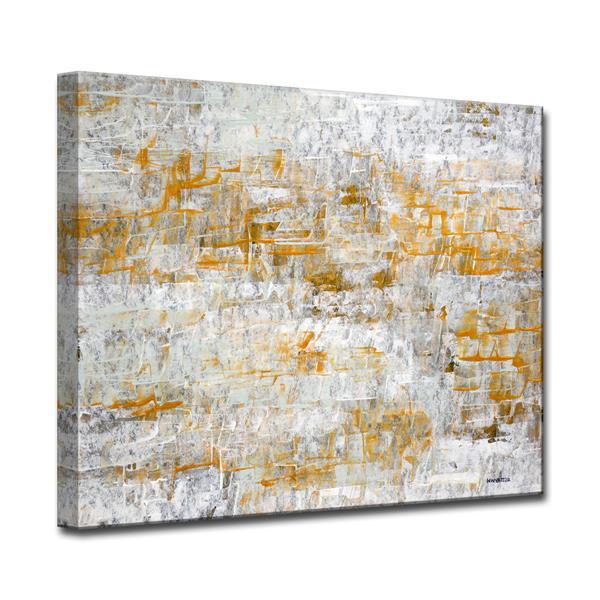 """Décoration murale en toile, empreintes, 40"""", gris"""
