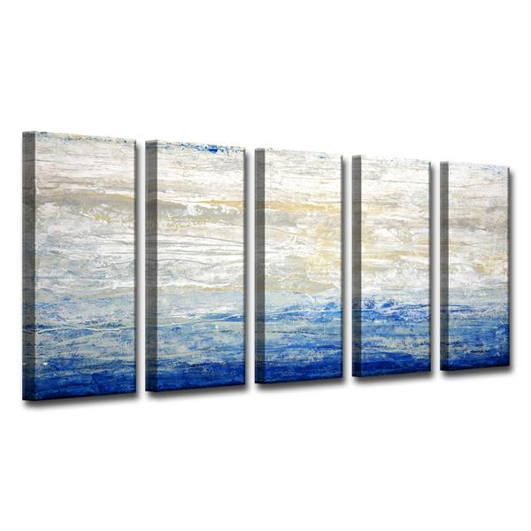 Ready2HangArt Crest V Canvas Wall Décor Set - 60-in - Blue - 5 Pcs