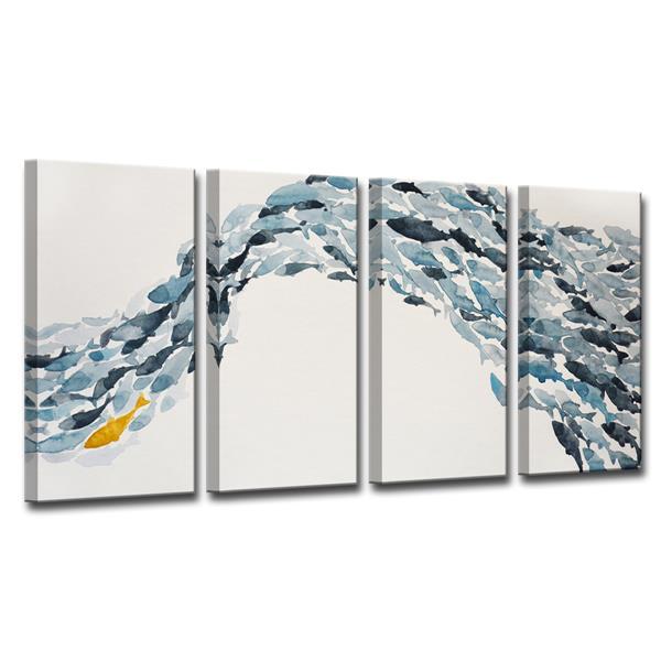 Ready2HangArt Goldfish Canvas Wall Décor Set - 48-in - Blue - 4 Pcs