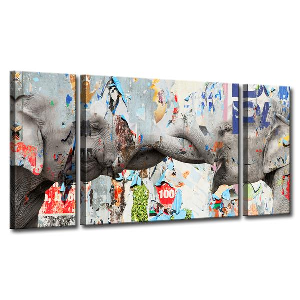 Ready2HangArt Elephant Wall Décor Set - 60-in - 3 Pcs