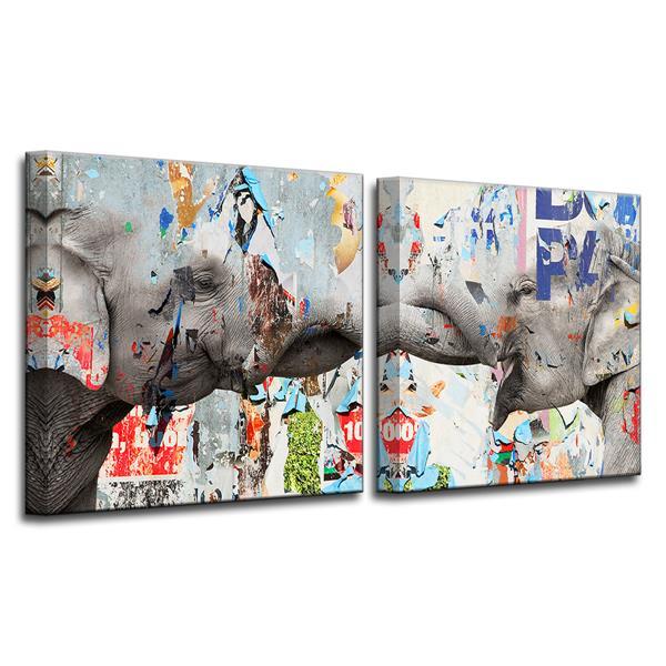 Ready2HangArt Elephant Wall Décor Set - 40-in - 2 Pcs
