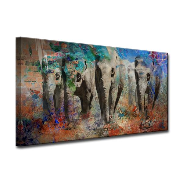 Ready2HangArt Saddle Ink Elephant IV Canvas Wall Décor - 40-in x 20-in