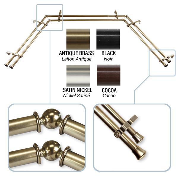 Rod Desyne Bay Window Curtain Rod - Stainless Steel - Brass