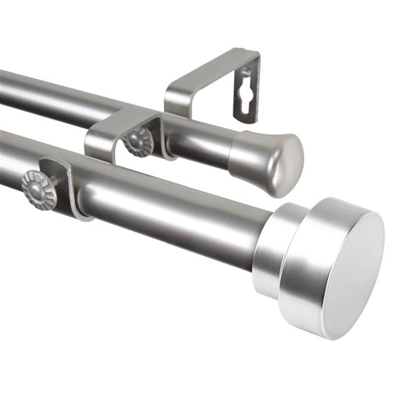 Rod Desyne Bonnet Double Curtain Rod - 120-in to 170-in - Nickel