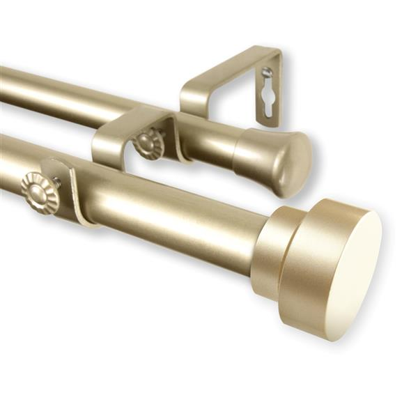 Rod Desyne Bonnet Double Curtain Rod - 120-in to 170-in - Gold