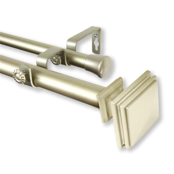 Rod Desyne Bedpost Double Curtain Rod - 28-in to 48-in - Gold