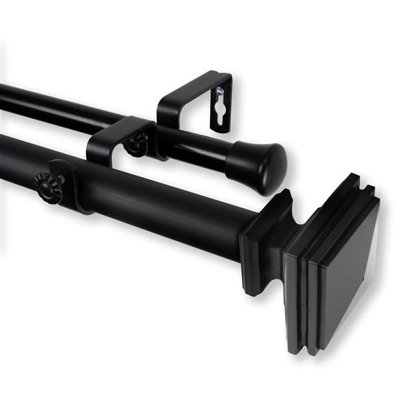 "Bedpost Double Curtain Rod - 120"" to 170"" - Black"