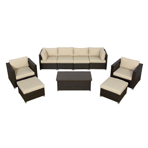 Think Patio Innesbrook Patio Conversation Set - Tan Cushions - 9-piece