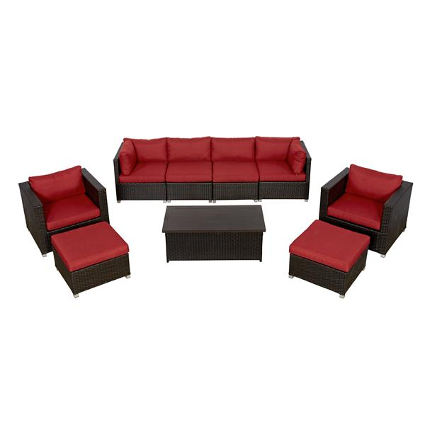 Think Patio Innesbrook Patio Conversation Set - Red Cushions - 9-piece