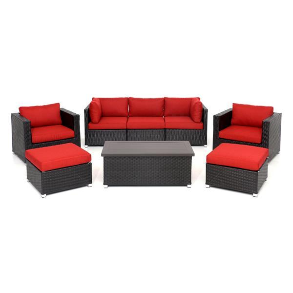 Think Patio Innesbrook Patio Conversation Set - Red Cushions - 8-piece