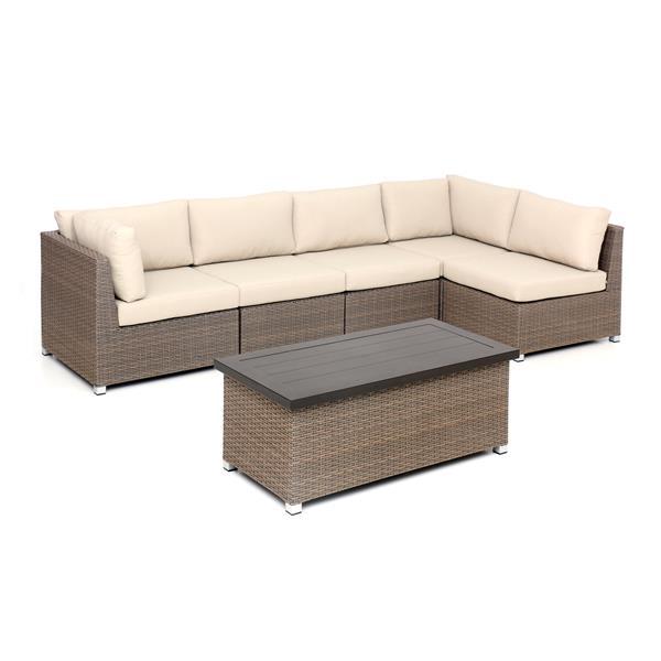 Think Patio Chambers Bay Patio Conversation Set - Tan Cushions - 6-piece