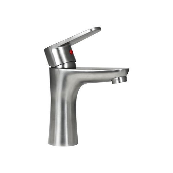 "BOANN Olivia 1-Handle Bathroom Faucet - 6.3"" - Stainless Steel"