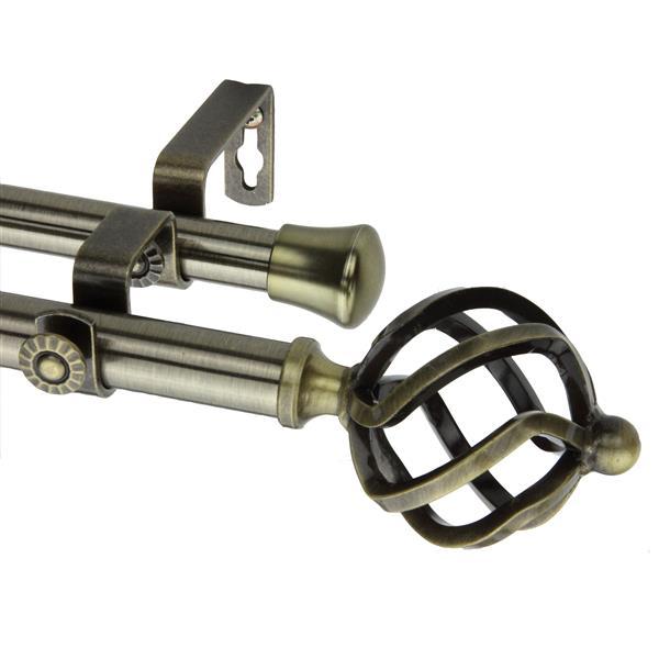 Rod Desyne Twist Double Curtain Rod - 66-120-in-13/16-in- Brass