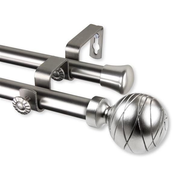 Rod Desyne Arman Double Curtain Rod - 120-170-in - 13/16-in - Nickel