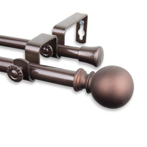 Rod Desyne Luna Double Curtain Rod - 28-48-in - 5/8-in- Cocoa