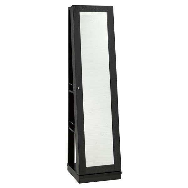 "Brassex Jewelry Cabinet with Mirror - 15.5"" x 63.5"" - Wood - Black"