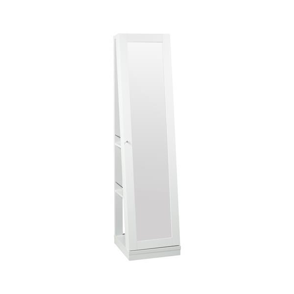 "Brassex Jewelry Cabinet with Mirror - 15.5"" x 63.5"" - Wood - White"