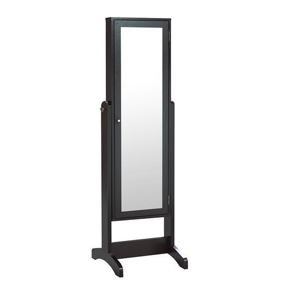 "Brassex Jewelry Cabinet with Mirror - 22.5"" x 60"" -  Black"