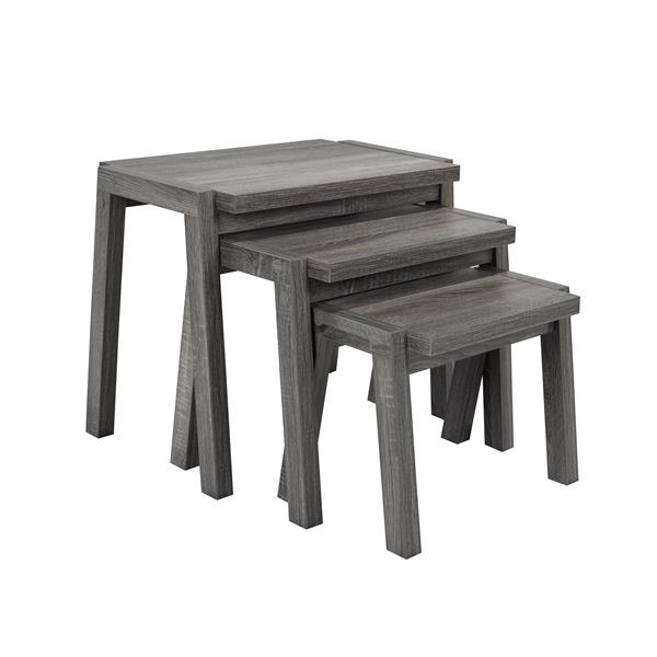 Brassex Nesting Tables - Wood - Gray - Set of 3