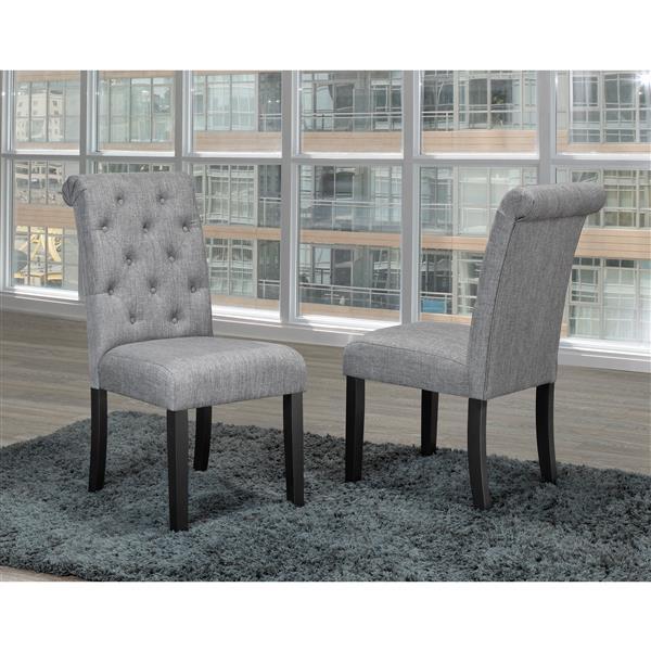 "Brassex Soho Dining Chairs - 18"" x 19"" - Fabric - Gray - Set of 2"