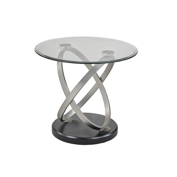 "Brassex Chantal End Table - 26"" x 24"" - Glass - Black/Silver"