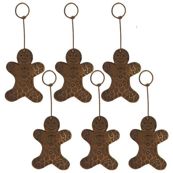 Premier Copper Products Copper Gingerbread Christmas Ornament - 6 PK