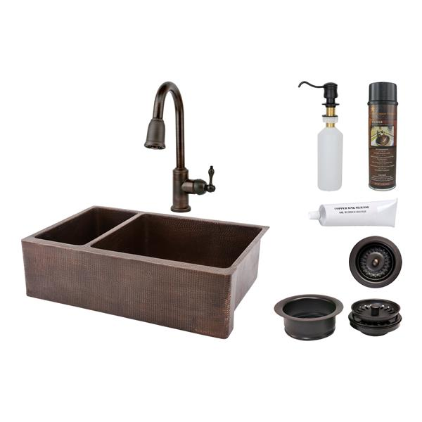 Premier Copper Products Copper Kitchen Sink with Faucet and Drain - 33-in