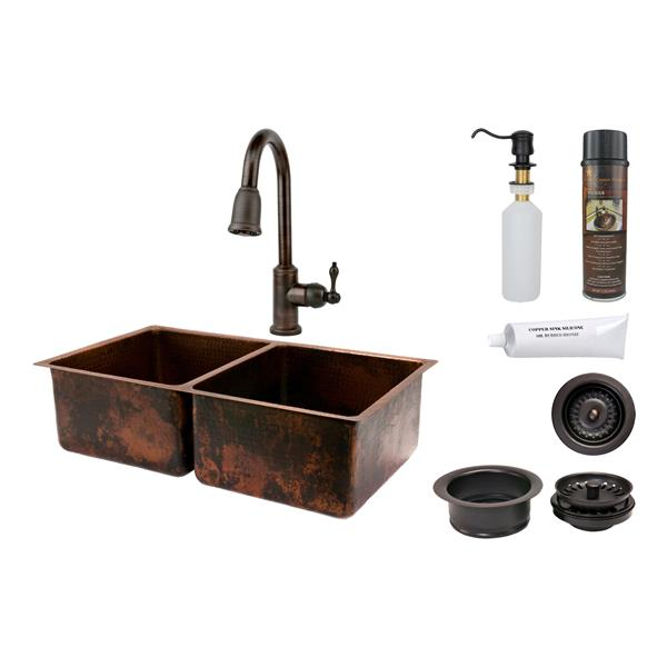 Copper Kitchen Sink with Faucet and Drain - 33""