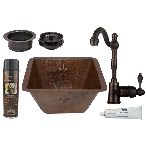 Premier Copper Products Copper Fleur De Lis Sink with Faucet and Drain - 15-in